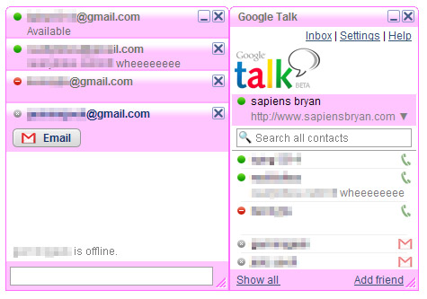 Google Talk Pink
