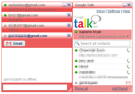 Google Talk Red Theme