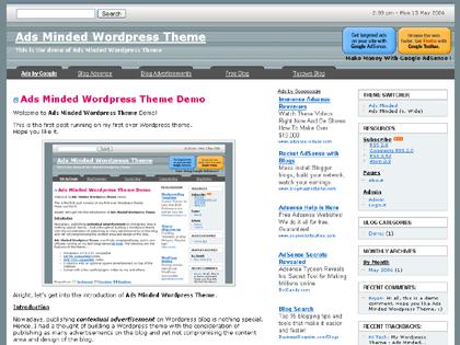 Ads Minded WordPress Theme Wide Version