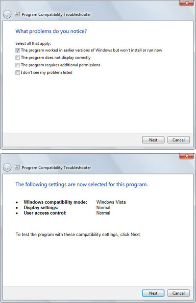 Windows 7 Old Program Compatibility